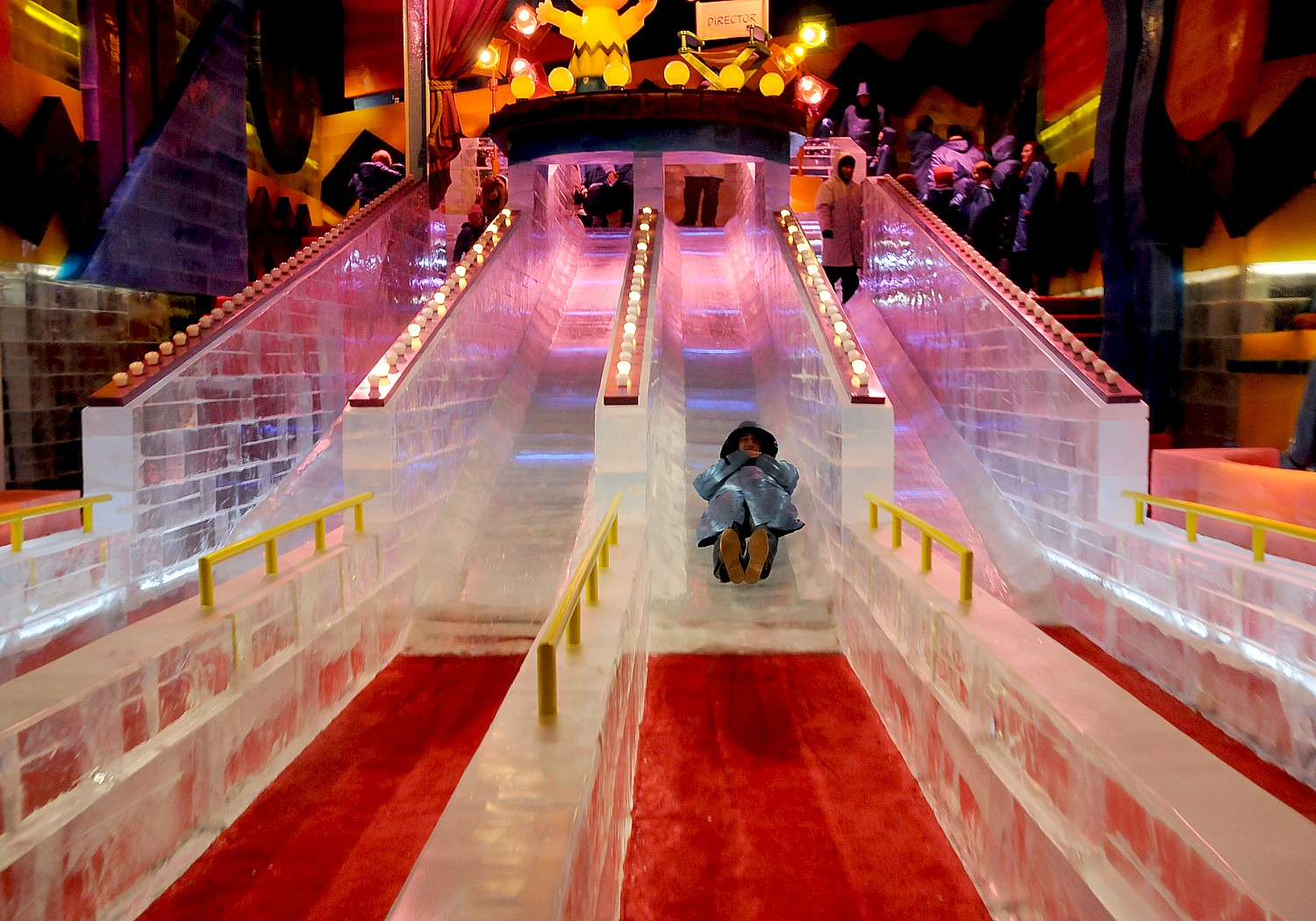 A resort stay: Gaylord National Resort just outside Washington DC offers a spectacular Christmas on the Potomac festival including ICE! where you get to go down an ice slide © 2016 Karen Rubin/goingplacesfarandnear.com